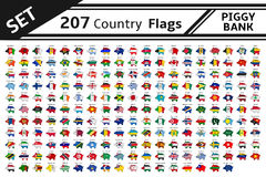207 country flags piggy bank Royalty Free Stock Images