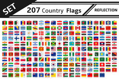 207 country flags reflection. Set 207 country flags reflection Royalty Free Stock Photography