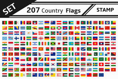 207 country flags stamp Royalty Free Stock Photo