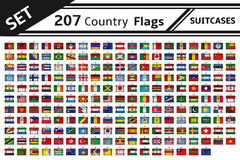 207 country flags suitcases Royalty Free Stock Photos