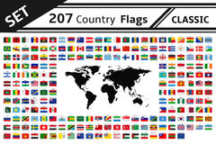 207 country flags and world map. Set 207 country flags and world map Royalty Free Stock Photo