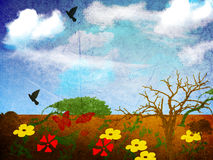 Country flowers and birds painting. Hand painting of flowers, birds and trees in an open countryside Stock Photo