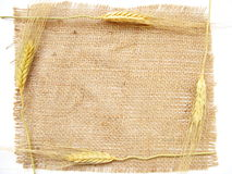 Country frame. Frame made by linen and wheat stock image