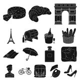 Country France black icons in set collection for design. France and landmark vector symbol stock web illustration. Country France black icons in set collection Royalty Free Stock Photo