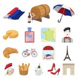 Country France cartoon icons in set collection for design. France and landmark vector symbol stock web illustration. Country France cartoon icons in set Stock Photos