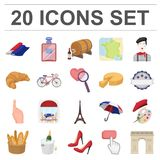 Country France cartoon icons in set collection for design. France and landmark vector symbol stock web illustration. Country France cartoon icons in set Royalty Free Stock Photo