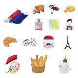 Country France cartoon icons in set collection for design. France and landmark vector symbol stock web illustration. Country France cartoon icons in set Stock Photography