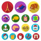 Country France flat icons in set collection for design.. France and landmark vector symbol stock  illustration Stock Image