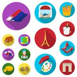 Country France flat icons in set collection for design. France and landmark vector symbol stock web illustration. Country France flat icons in set collection Stock Images
