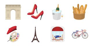 Country France icons in set collection for design.. France and landmark vector symbol stock illustration Stock Photo
