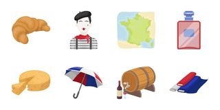 Country France icons in set collection for design. France and landmark vector symbol stock web illustration. Country France icons in set collection for design Stock Photo