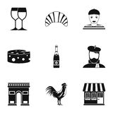 Country of France icons set, simple style. Country of France icons set. Simple illustration of 9 country of France vector icons for web Royalty Free Stock Images