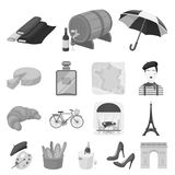 Country France monochrome icons in set collection for design. France and landmark vector symbol stock web illustration. Country France monochrome icons in set Royalty Free Stock Photos