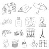 Country France outline icons in set collection for design. France and landmark vector symbol stock web illustration. Country France outline icons in set Royalty Free Stock Photography