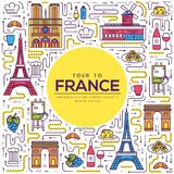 Country France travel vacation guide of goods, place and feature. Set of architecture, fashion, people, item, nature. Background concept. Infographic Royalty Free Stock Images
