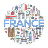 Country France trip guide of goods, places in thin lines style design. Set of architecture, fashion, people, nature Royalty Free Stock Images