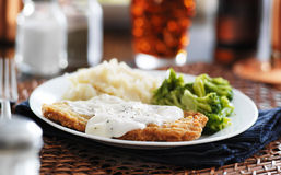 Country fried steak panorama. Country fried steak with southern style peppered milk gravy shot in panorama style royalty free stock photos