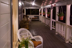Country Front Porch at night horizontal Stock Image