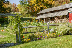 Country Garden With Wood Fence and Woodshed in Autumn Royalty Free Stock Photos