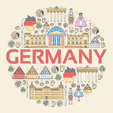 Country Germany travel vacation guide of goods, places and features. Set of architecture, people, culture, icon Royalty Free Stock Images