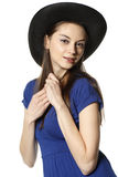Country girl. Girl in cowboy hat smiling at camera Stock Image