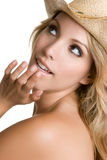Country Girl. Blond country girl wearing hat Stock Photos
