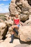 Country girl in desert Royalty Free Stock Image