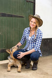 Country girl  dog Stock Photography