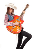 Country girl with electric guitar Stock Images