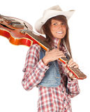 Country girl with electric guitar Royalty Free Stock Photos