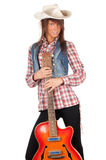 Country girl with electric guitar Royalty Free Stock Image
