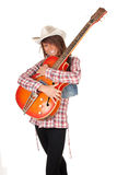 Country girl with electric guitar Royalty Free Stock Photography