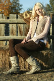 Country Girl on Farm royalty free stock photography