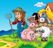 Country girl with farm animals Royalty Free Stock Photos