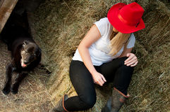 Country Girl and farm dog Stock Images