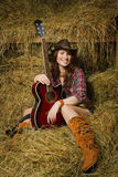Country girl with guitar Stock Photos