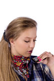 Country-girl with harmonica royalty free stock photos