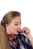 Country-girl with harmonica Stock Photography