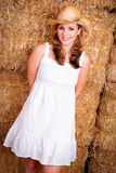 Country Girl in Hay Stock Image