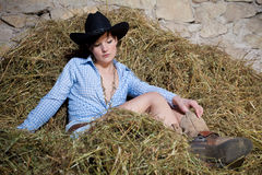 Country girl in the hay Stock Photo