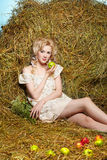 Country girl on hay Stock Photography