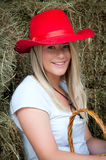 Country Girl in haybarn Stock Images