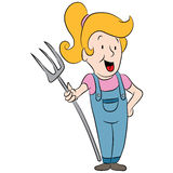 Country Girl Holding Pitchfork Stock Photo