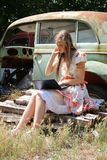 Country girl with a laptop Royalty Free Stock Photography