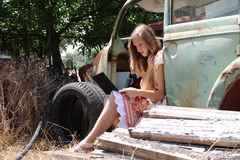 Country girl with a laptop Stock Photos