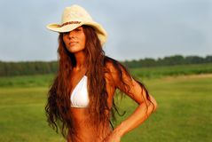 country girl long hair Royalty Free Stock Photography