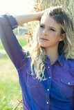 Country girl. Natural blonde woman Royalty Free Stock Photography