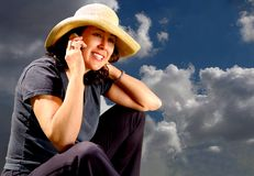 Country Girl On Phone Stock Photography