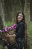 Country girl. Portrait in outdoors,beautiful happy Asian girl smile and laugh together Royalty Free Stock Image
