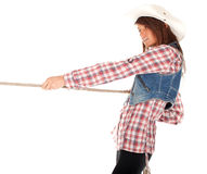 Country girl pulling lasso Stock Photography